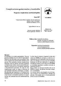 Complicaciones gestacionales y trombofilia
