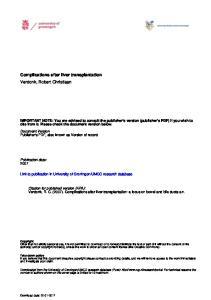 Complications after liver transplantation Verdonk, Robert Christiaan