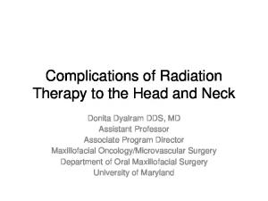 Complications of Radiation Therapy to the Head and Neck