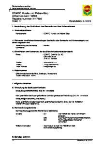COMPO Hunde- und Katzen-Stop Artikelnummern: Registriernummer: N Version: 1.7 Überarbeitet am: