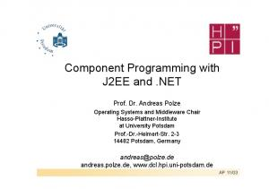 Component Programming with J2EE and.net