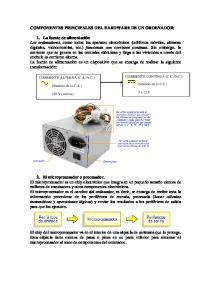 COMPONENTES PRINCIPALES DEL HARDWARE DE UN ORDENADOR: