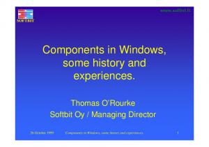 Components in Windows, some history and experiences