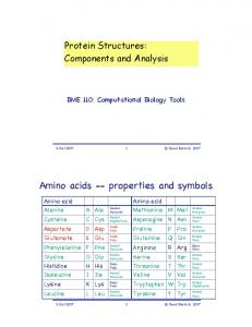 Components of Protein Structures. Amino acids -- properties and symbols