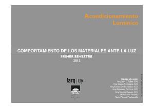 COMPORTAMIENTO DE LOS MATERIALES ANTE LA LUZ
