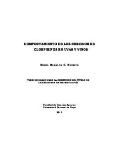 COMPORTAMIENTO DE LOS RESIDUOS DE CLORPIRIFOS EN UVAS Y VINOS
