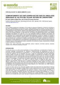 COMPORTAMIENTO DE OXIFLUORFEN EN DOS SUELOS ANDALUCES DEDICADOS AL CULTIVO DEL OLIVAR: ESTUDIO DE LABORATORIO
