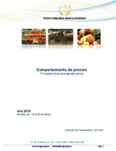 Comportamiento de precios Principales productos agropecuarios