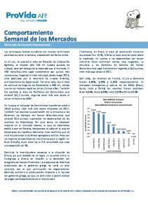 Comportamiento Semanal de los Mercados Mercado Accionario Internacional: