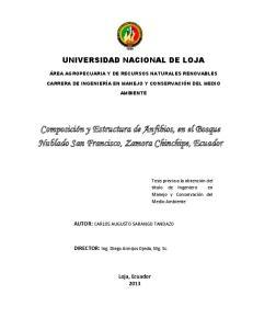 Composición y Estructura de Anfibios, en el Bosque Nublado San Francisco, Zamora Chinchipe, Ecuador