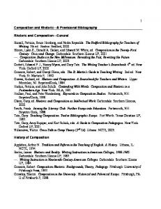 Composition and Rhetoric A Provisional Bibliography. Rhetoric and Composition General
