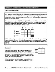 COMPOUND PROBABILITY AND COUNTING METHODS COUNTING METHODS. Example 3