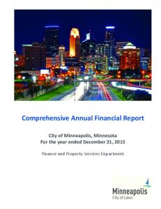 Comprehensive Annual Financial Report City of Minneapolis, Minnesota For the year ended December 31, 2015
