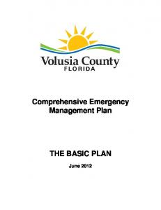 Comprehensive Emergency Management Plan THE BASIC PLAN