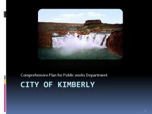 Comprehensive Plan for Public works Department CITY OF KIMBERLY