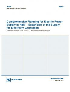 Comprehensive Planning for Electric Power Supply in Haiti Expansion of the Supply for Electricity Generation