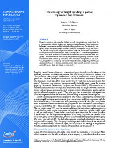 COMPREHENSIVE PSYCHOLOGY. The etiology of frugal spending: a partial replication and extension 1. Abstract. Ammons Scientific