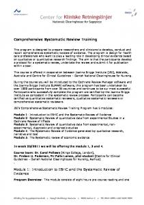 Comprehensive Systematic Review Training