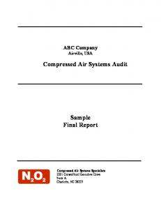 Compressed Air Systems Audit. Sample Final Report