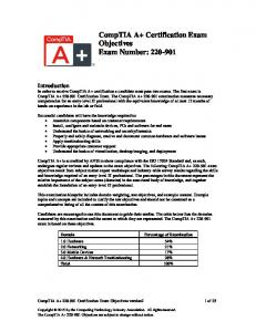 CompTIA A+ Certification Exam Objectives Exam Number: