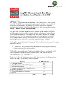 CompTIA Advanced Security Practitioner Certification Exam Objectives (CAS-002)