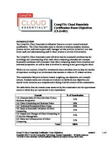 CompTIA Cloud Essentials Certification Exam Objectives (CLO-001)