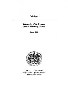 Comptroller of the Treasury General Accounting Division