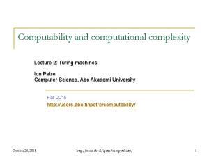 Computability and computational complexity