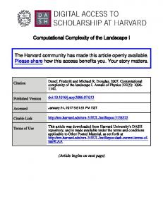 Computational Complexity of the Landscape I