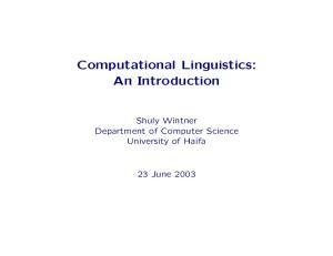 Computational Linguistics: An Introduction