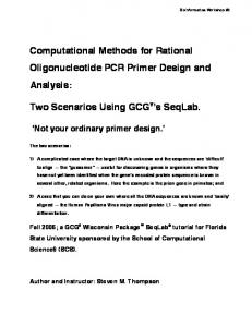 Computational Methods for Rational Oligonucleotide PCR Primer Design and Analysis: