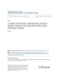 COMPUTATIONAL MODELING OF RNA- SMALL MOLECULE AND RNA-PROTEIN INTERACTIONS