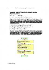Computer Assisted Laboratory Instructions: Learning Outcomes Analysis