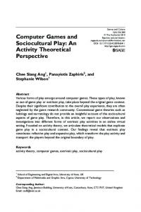 Computer Games and Sociocultural Play: An Activity Theoretical Perspective