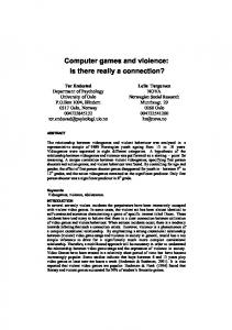 Computer games and violence: Is there really a connection?