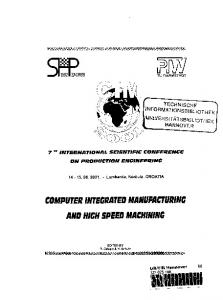 COMPUTER INTEGRATED MANUFACTURING AND HIGH SPEED MACHINING