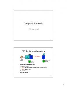 Computer Networks. FTP: the file transfer protocol. FTP and