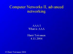 Computer Networks II, advanced networking