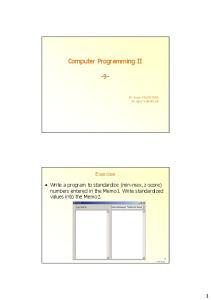 Computer Programming II -9-