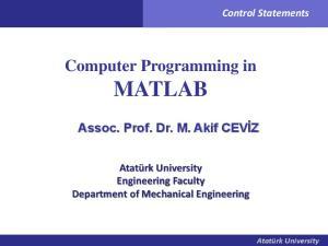 Computer Programming in MATLAB