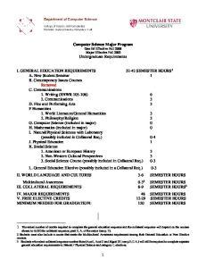 Computer Science Major Program Gen Ed Effective Fall 2008 Major Effective Fall 2003 Undergraduate Requirements