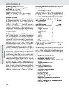 COMPUTER SCIENCE. Natural Sciences, Mathematics & Engineering. Requirements for the Bachelor of Science Degree in Computer Science