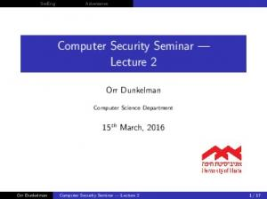 Computer Security Seminar Lecture 2