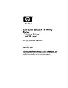 Computer Setup (F10) Utility Guide HP Business Desktops dx5150 model