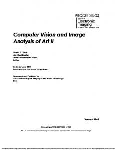 Computer Vision and Image Analysis of Art II