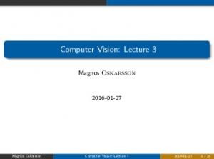 Computer Vision: Lecture 3