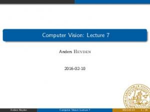 Computer Vision: Lecture 7