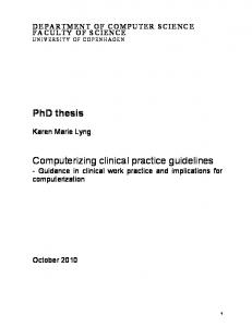 Computerizing clinical practice guidelines - Guidance in clinical work practice and implications for computerization