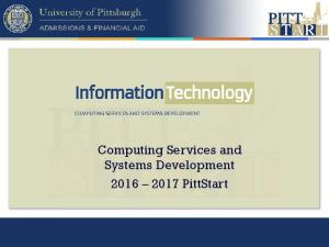 Computing Services and Systems Development PittStart
