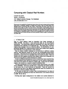 Computing with Classical Real Numbers